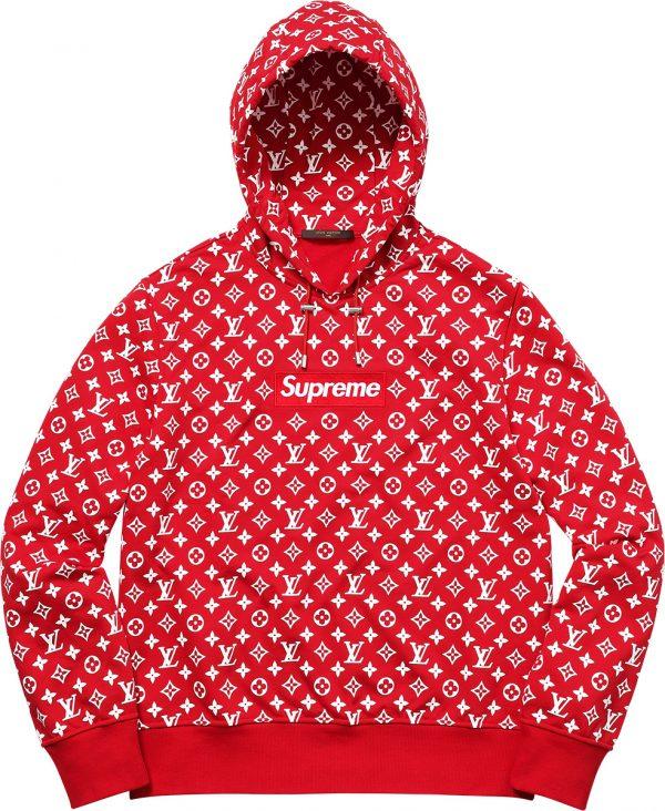 premium red louis vuitton x supreme hoodie-sweatshirt