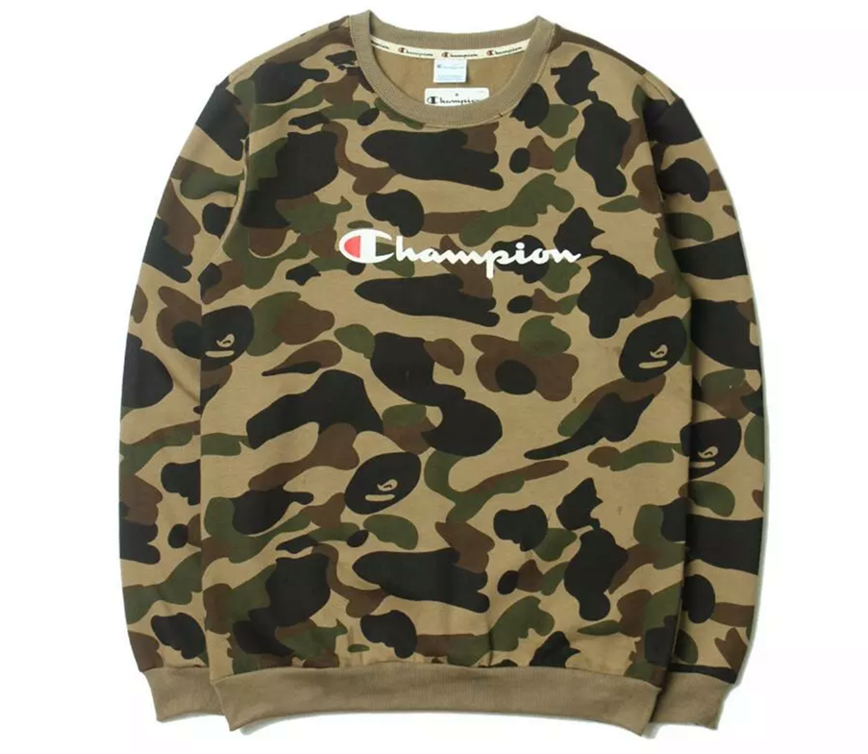 cf5949b7df61 BAPE X CHAMPION CAMO SWEATER, best price online!| Hoodie Free Delivery