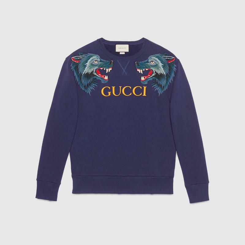 ecfc16ca333 Gucci Men s Blue Cotton Sweatshirt With Wolf Head Appliqués Fake