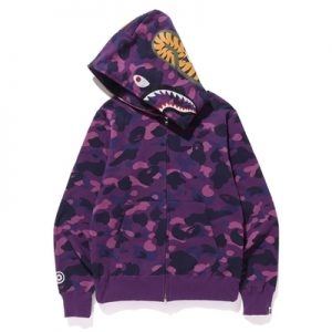 FREE SHIPPING BAPE SHARK HOODIES Full Camo Shark Hoodies Full Zip-up Purple Fake