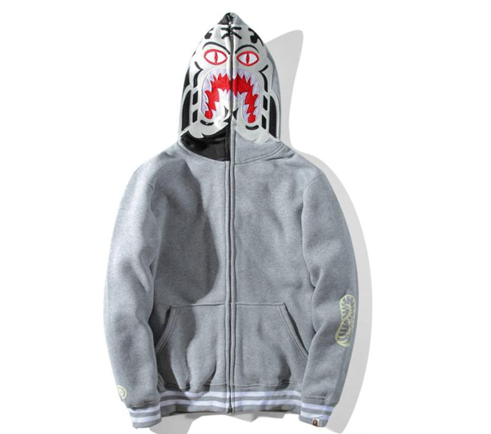 Unisex Bape Hoodie Embroidery luminous Tiger Head Zipper A Bathing Ape Jacket