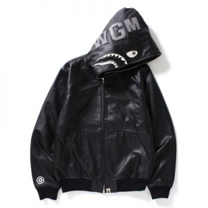 bape leather shark hoodie - black with shark