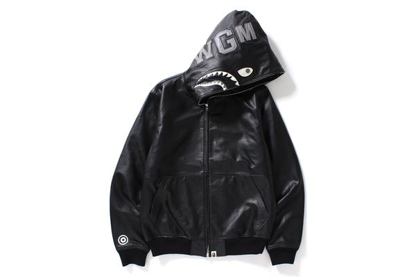 bape leather shark hoodie - black with shark