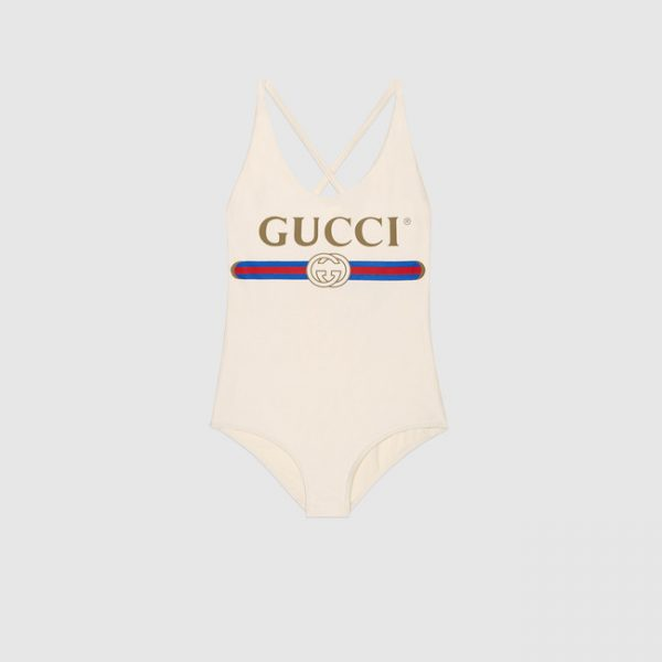 Light Sparkling swimsuit with Gucci logo fake swimsuit for women