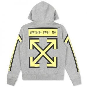OFF-WHITE F/W 18-19 HOODIE Long sleeves hooded sweatshirt in melange grey with yellow arrows print at sleeves and back. Kangaroo pocket - best replica