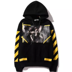 off white fake hoodie black with yellow lines
