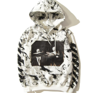OFF-WHITE CARAVAGGIO HOODIE white with stone pattern