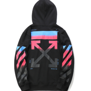 OFF-WHITE HOODIE black with colourful arrows