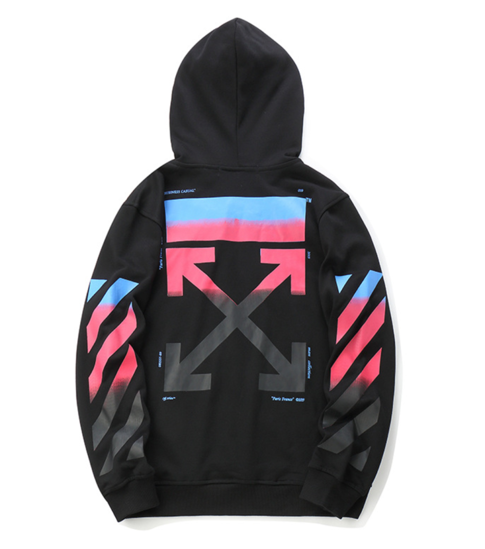 8a9b4a98107 OFF-WHITE HOODIE black with colourful arrows