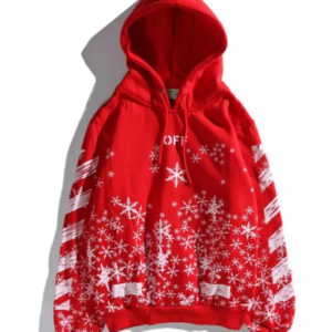 red with white snowflakes hoody - OFF-WHITE replica