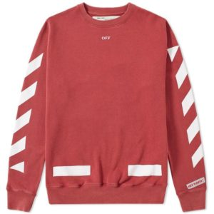 off white co virgil abloh - red sweater with white lines