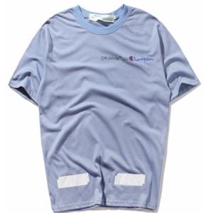 gosha rubchinskiy t shirt off white c/o champion bright blue tee