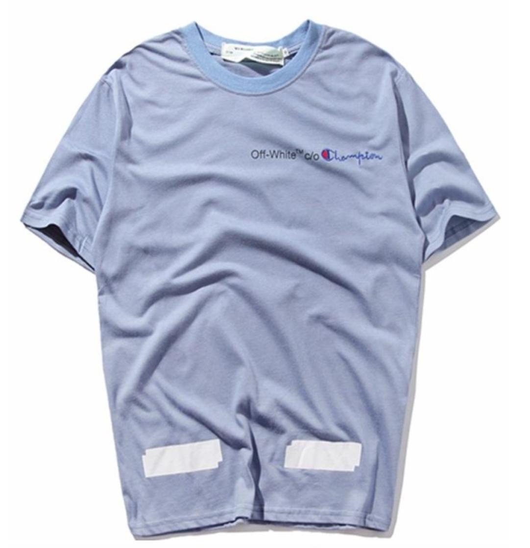 0d689c341 gosha rubchinskiy t shirt off white c/o champion bright blue tee